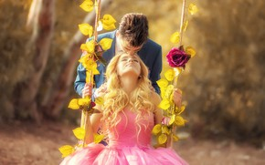 Picture girl, swing, romance, kiss, dress, pair, male, lovers, Arif Mounted
