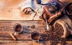 Picture Board, coffee, spoon, glasses, cinnamon, bag, grain, star anise, coffee grinder, star anise