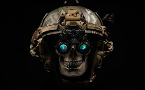 Picture style, background, skull, headphones, helmet, helmet