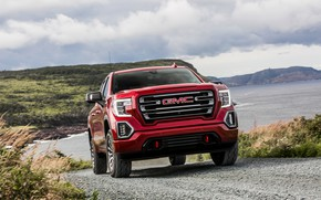 Picture road, red, pickup, GMC, Sierra, AT4, 2019