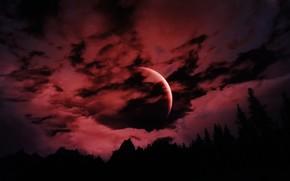 Picture Moon, Red, Sky, Landscape, Skyrim, Game, The Elder Scrolls V