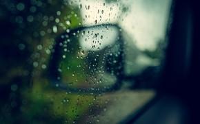 Picture machine, drops, macro, rain, mirror, raindrops