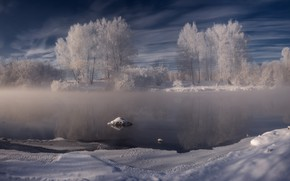 Picture winter, snow, trees, landscape, nature, river, Bank