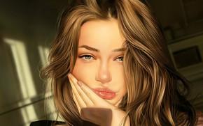 Picture face, hand, brown hair, sponge, long hair, art, portrait of a girl, Jinsung Lim