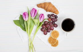 Picture coffee, bouquet, Breakfast, grapes, tulips, waffles, croissant