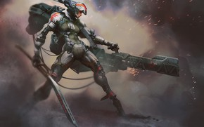 Picture girl, weapons, cyborg