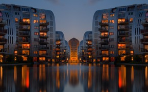 Picture water, house, river, the building, the evening, The city