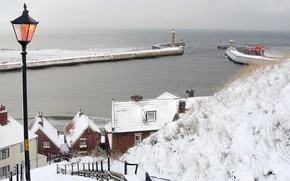 Picture snow, winter, England, Whitby, the city, sea, street, Whitby, Snow On Whitby Piers, Christmas Card, …