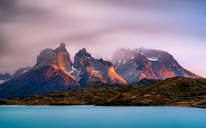 Picture the sky, clouds, light, mountains, fog, lake, shore, the slopes, tops, haze, pond, Andes, Patagonia