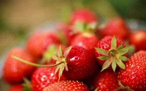 Picture red, bokeh, berries, harvest, food, blurred background, strawberry
