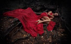 Picture autumn, girl, pose, mood, feet, sleep, the situation, red dress, sleeping, the roots of the …