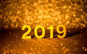 Picture background, gold, New Year, figures, golden, bokeh, New Year, Happy, sparkle, 2019