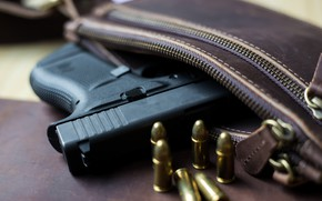 Picture Glock, 9mm, ammunition, handbag