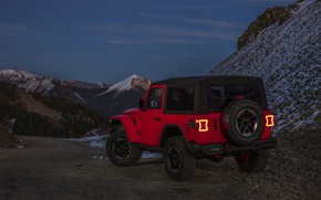 Picture snow, mountains, red, the slopes, 2018, Jeep, Wrangler Rubicon