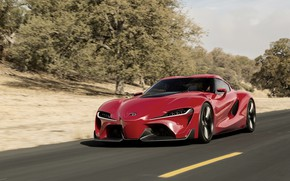 Picture asphalt, red, markup, coupe, Toyota, 2014, FT-1 Concept