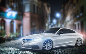 Picture Auto, White, Machine, Mercedes, Lights, Car, Car, Art, Vehicles, Transport, Transport & Vehicles, Mercedes C63, …