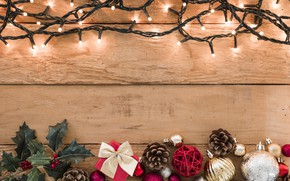Picture decoration, New Year, Christmas, gifts, garland, Christmas, wood, New Year, gift, decoration, Merry