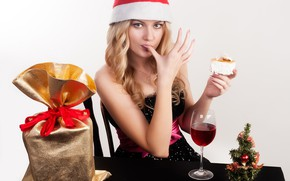Picture look, pose, mood, holiday, gift, wine, hat, glass, new year, Christmas, hands, makeup, dress, hairstyle, …