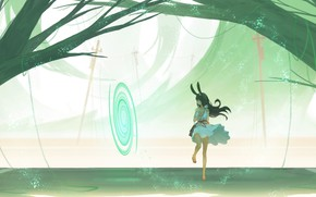 Picture girl, trees, fiction, the portal, ears