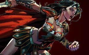 Picture sword, fantasy, Wonder Woman, weapon, comics, artwork, superhero, warrior, fantasy art, DC Comics, simple background, …