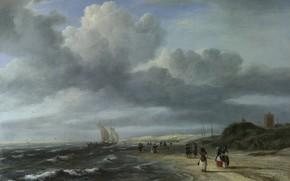 Picture landscape, picture, Jacob van Ruisdael, Jacob van Ruisdael, The beach in Egmond aan Zee