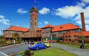 Picture photo, Home, Tower, The city, USA, Oregon, Portland, Union Station, Street lights