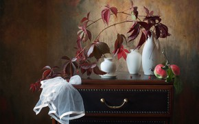 Picture autumn, leaves, apples, branch, table, still life, vases, ivy