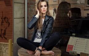 Picture glass, girl, pose, reflection, makeup, jacket, barefoot, Alexey Shishkin, Maria Dzvinkaitė
