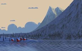 Picture Winter, Mountains, River, Village, Art, Village, Trees, Cartoon, Environment, by Andrey Syailev, Andrey Syailev