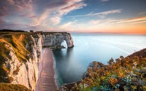 Picture sand, sea, the sky, water, clouds, open, rocks, France, France, Etretat, Étretat, Normandie