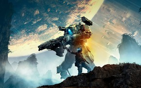 Picture weapons, planet, robot, warrior, Titanfall 2
