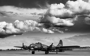 Picture The sky, USAF, B-17, The Second World War, Boeing B-17 Flying Fortress, Flying Fortress, Monochrome, …