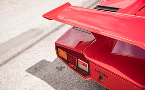 Picture Red, Logo, Lamborghini Countach, Wing