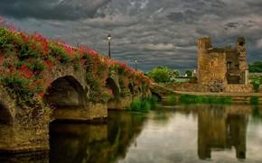 Picture landscape, clouds, bridge, nature, reflection, river, lights, the ruins