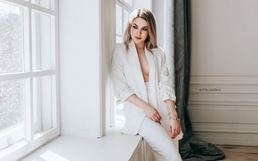 Picture pose, model, portrait, makeup, figure, hairstyle, blonde, costume, sill, is, jacket, curtains, Anna, in white, …