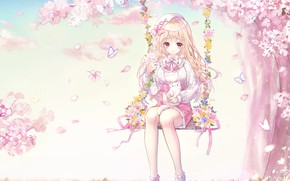 Picture flowers, swing, spring, girl, kitty