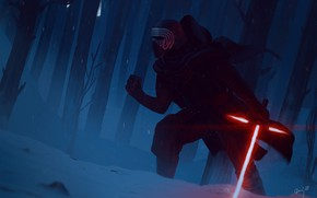 Picture Winter, Forest, Star Wars, Sword, Fantasy, Art, Lightsaber, Sith, Characters, Kylo Ren, Kyle Wren, Dimz, …