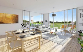 Picture interior, terrace, living room, dining room, Lotus Apartments