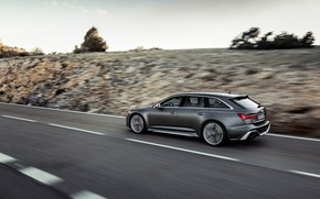 Picture movement, Audi, speed, universal, RS 6, 2020, 2019, dark gray, V8 Twin-Turbo, RS6 Avant