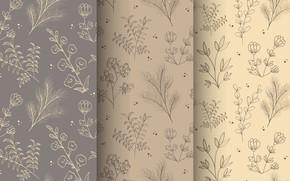 Picture flowers, pattern, brown, beige
