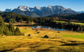 Picture forest, the sun, mountains, river, Germany, meadow, Max Forst