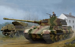 Picture art, Tiger II, w/Zimmerit, Pz.Kpfw.VI Ausf.B, German tank, (Henschel 1944 Production), (Sd.Car.182)