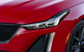 Picture red, Cadillac, headlight, the hood, sedan, four-door, 2020, CT5-V