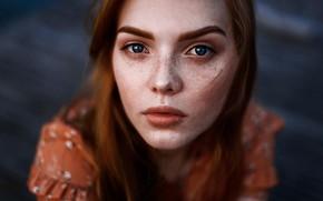 Picture eyes, look, hair, Girl, red, Juliana Naidenova