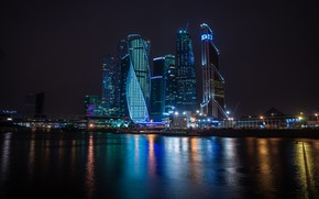 Picture night, the city, skyscrapers, backlight, Moscow, Russia, Russia, capital, the light in the Windows, the …