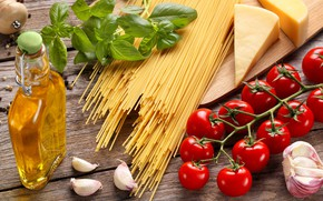 Picture oil, cheese, tomatoes, pasta