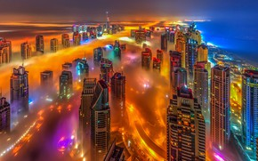 Picture sea, the sky, night, orange, blue, the city, lights, fog, lights, view, building, tower, home, …