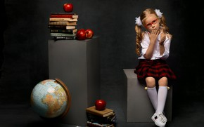 Picture apples, books, sneakers, skirt, glasses, girl, blouse, schoolgirl, knee, bows, globe, child, textbooks, tails, student, …