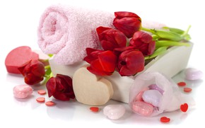 Picture roses, towel, bouquet, soap, red, Spa