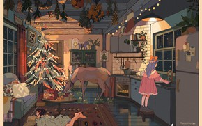 Picture plants, deer, refrigerator, kitchen, lying on the floor, wooden house, two girls, elegant tree, by …